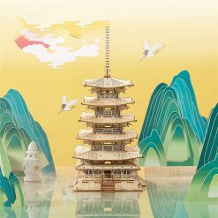 275pcs DIY 3D Five-storied Pagoda Wooden Puzzle Game Assembly Constructor Toy Gift for Children Teen Adult  2