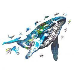 Free Whale Wooden Puzzles For Adults Kids Interactive Educational Games DIY Gifts 3